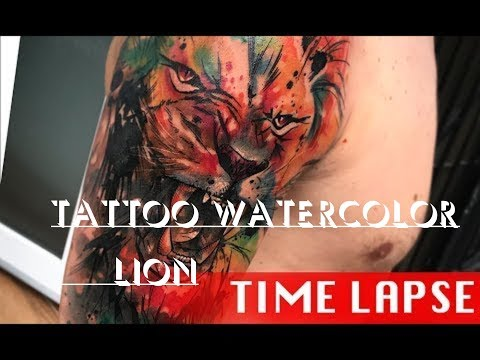 Watercolor lion   Tattoo time lapse