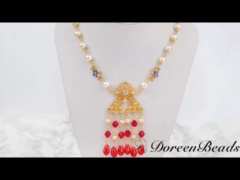 Doreenbeads jewelry making tutorial how to diy brilliant red doreenbeads jewelry making tutorial how to diy brilliant red beaded chandelier style necklace aloadofball Image collections