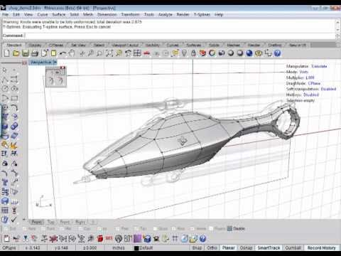 3D model from 2D sketch with T-Splines for Rhino