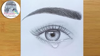 How To Draw An Eye With Teardrop For Beginners    Easy Way To Draw A Realistic Eye   