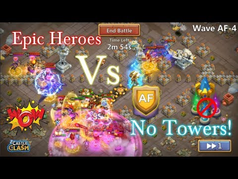 Epic Heroes Vs HBM AF Without Towers! Castle Clash
