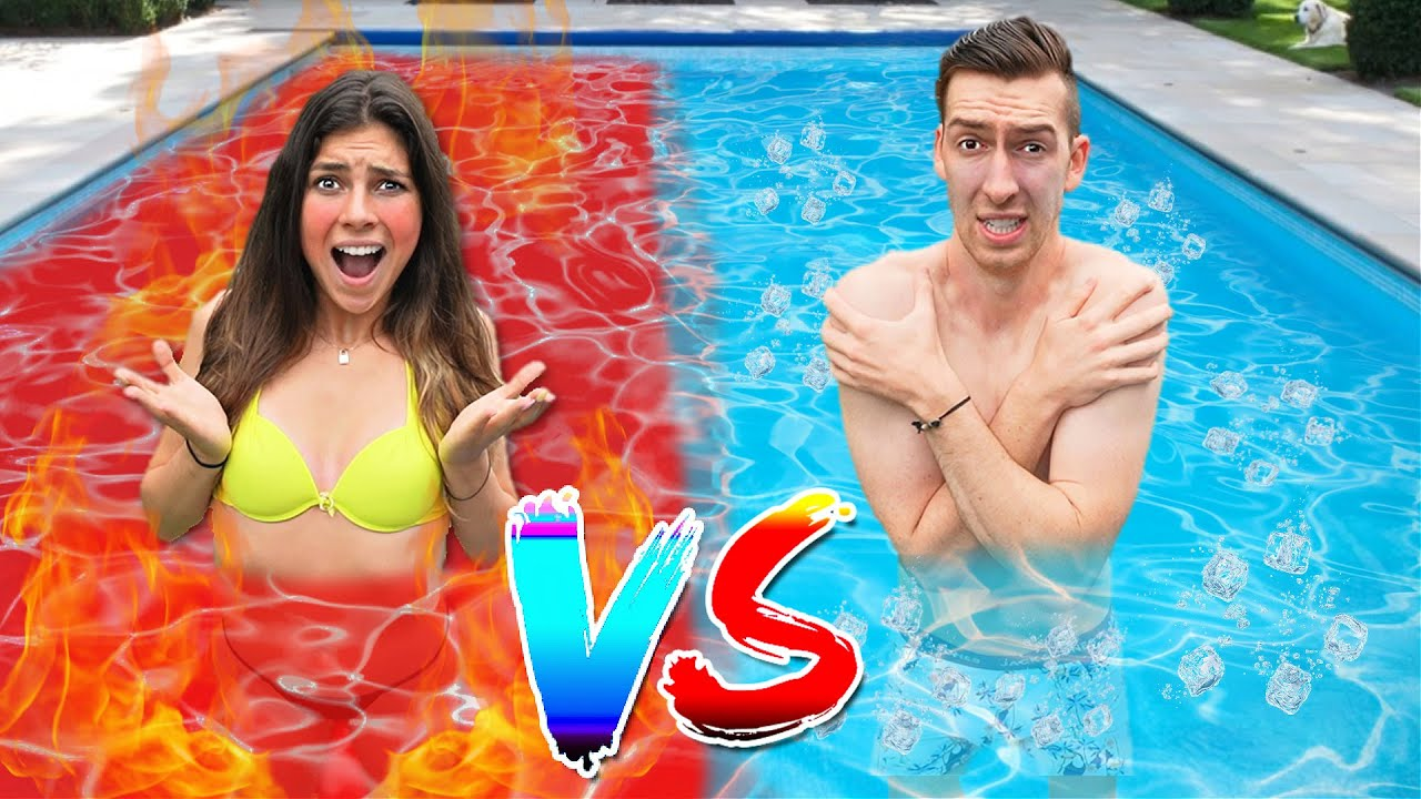 HOT vs COLD ZWEMBAD CHALLENGE! *Heet vs Ijskoud* 😱 #330