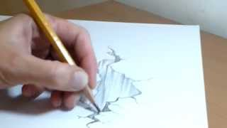 How to draw 3D rocks illusion on two A4 pages
