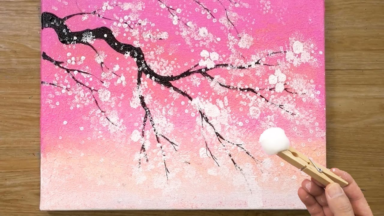 Cherry Blossom Tree Under Pink Sky Cotton Painting Technique 469 Youtube