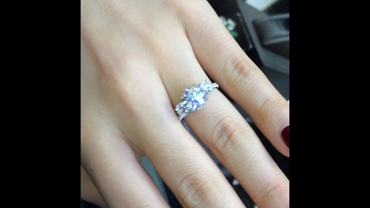 Details about  /2.50 Ct Three Stone Round Moissanite Engagement Wedding Ring 925 Sterling Silver