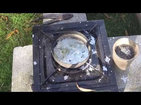 Smelting #1 Smelting Lead with a Camp Stove Featuring Molten Lead Explosion!