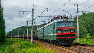 Электровоз ВЛ15С-032 с грузовым поездом, платформа 29 км(Видео из серии фото + видео одновременно. ВЛ15С-032 (Владимир Ленин, тип 15) - мощнейший в мире электровоз постоя..., 2016-08-08T19:28:44.000Z)