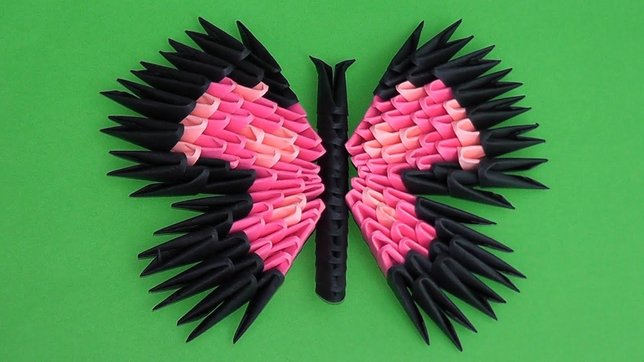 3D origami butterfly assembly diagram (tutorial, instructions) variant 3  YouTube