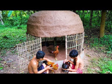 Primitive Technology: Building Round House For Chicken