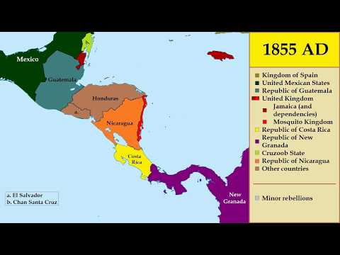 Map: History Of Central America (1800-2018) - Every Year