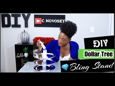 DIY Dollar Tree Bling 💎 Jewelry Stand | 3-Tier Cupcake Stand | Glam Vanity | Chanelle Novosey
