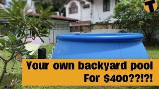 Instant swimming pool in your backyard, the 15 foot Intex Easy Set