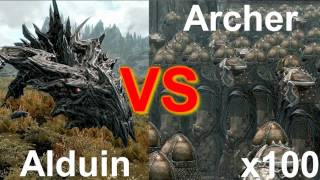 Skyrim Battle - 100 Archers vs Alduin