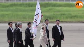 Olympic flag touches down in Japan