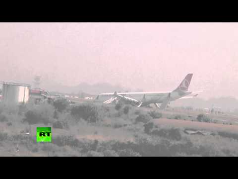 Turkish Airlines Airbus A330 plane  with 238 on board crash-lands in Nepal