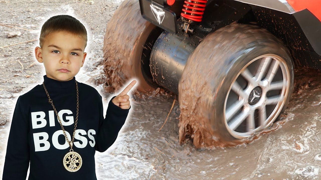 Dima Big Boss - power wheels car stuck in the mud
