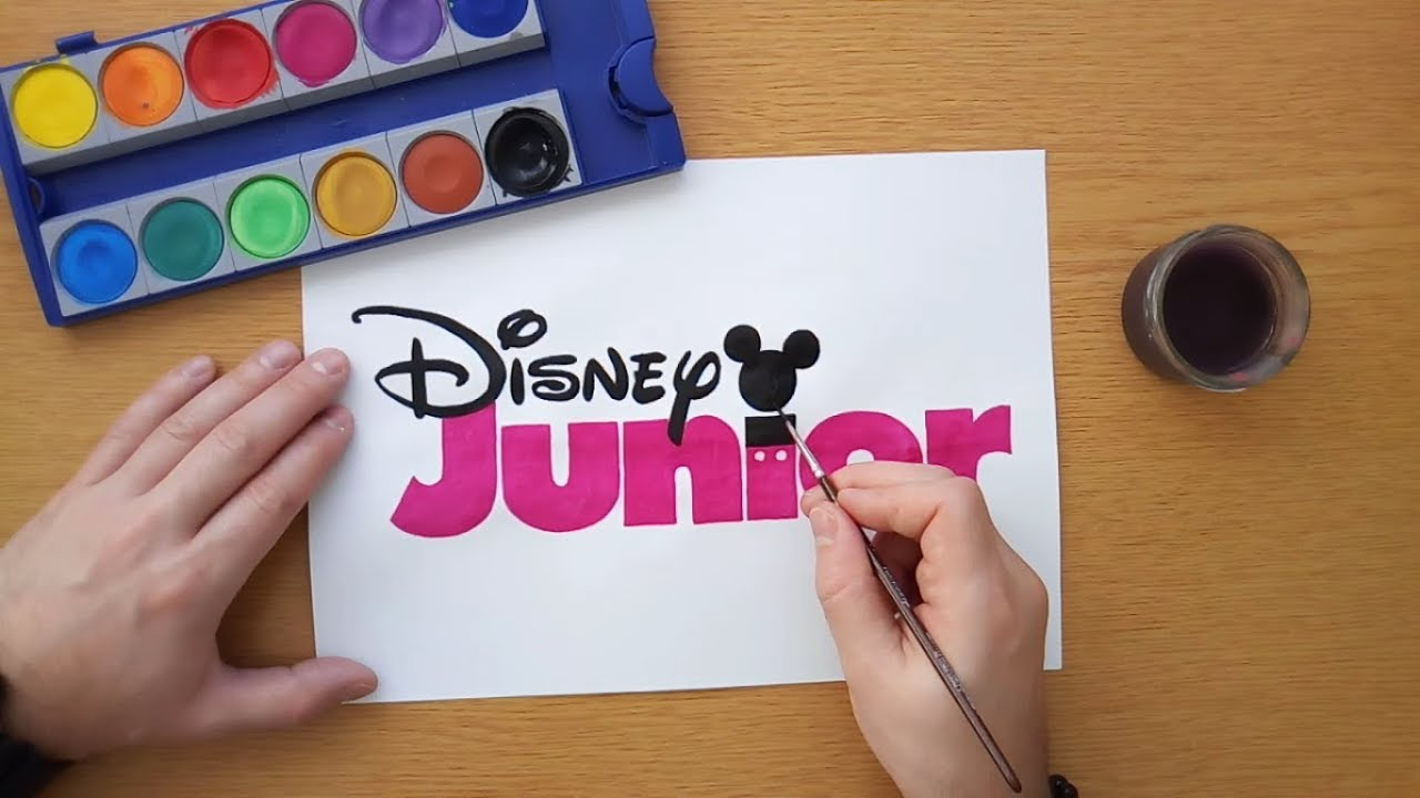 How to draw a pink Disney Junior logo - YouTube