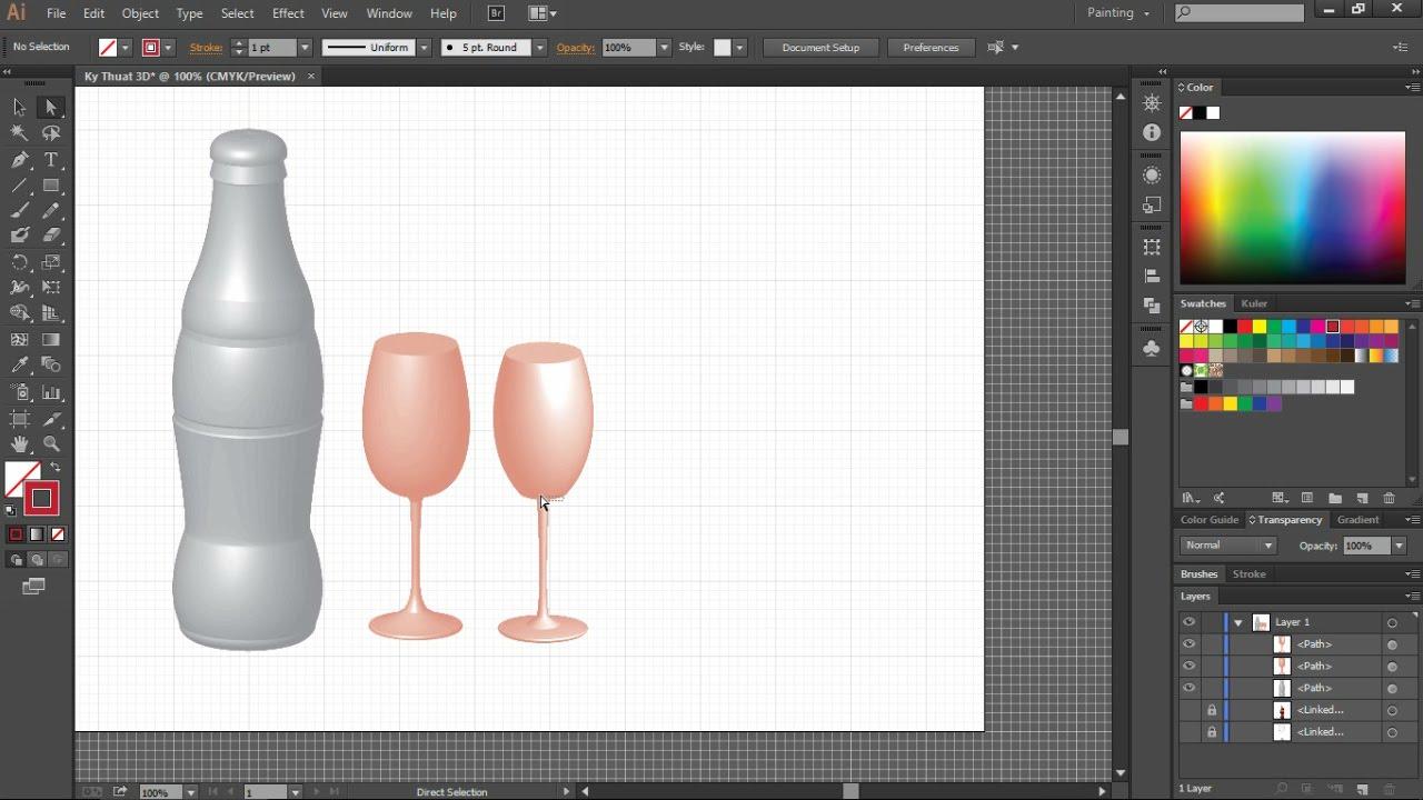 Bài 17. Vẽ ly, chai bằng kỹ thuật 3D với Adobe Illustrator CC