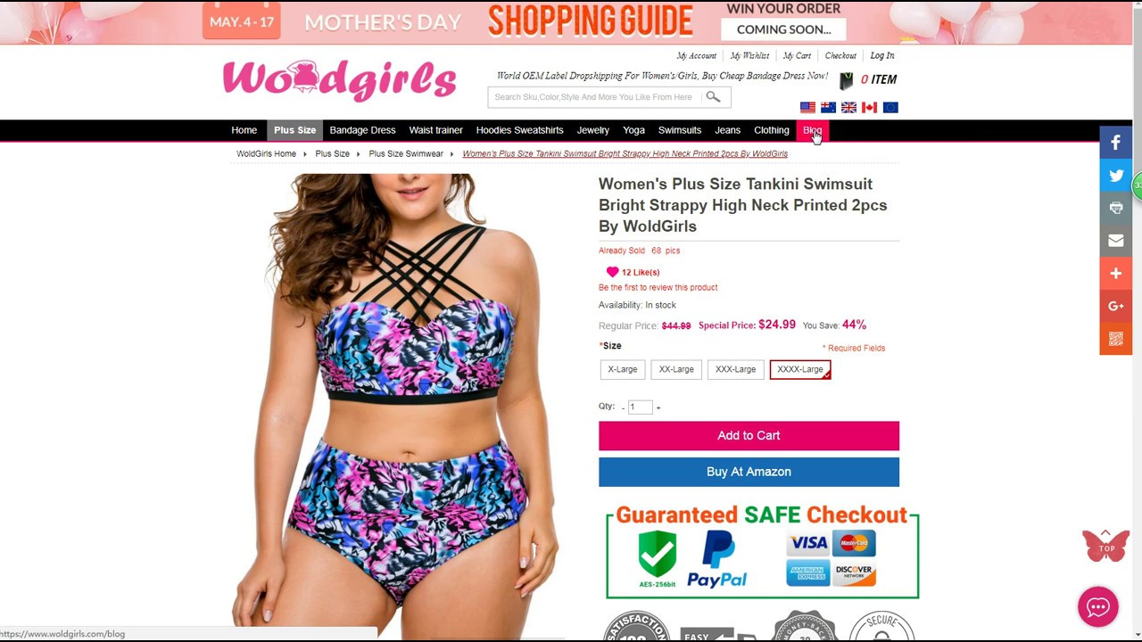 44bffa1bc9925 Womens Plus Size Tankini Swimsuit Bright Strappy High Neck Printed 2pcs By  WoldGirls