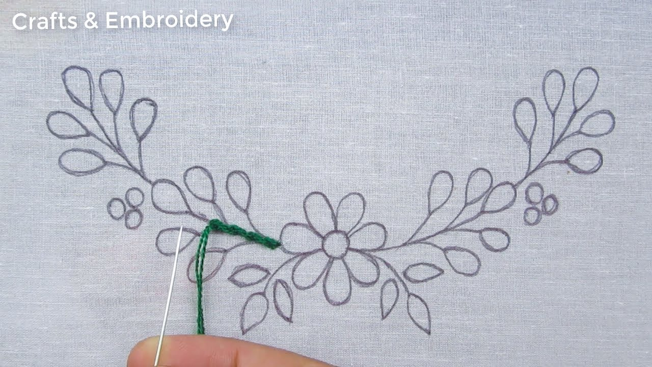 Hand Embroidery Patterns, Simple Neckline Embroidery Tutorial