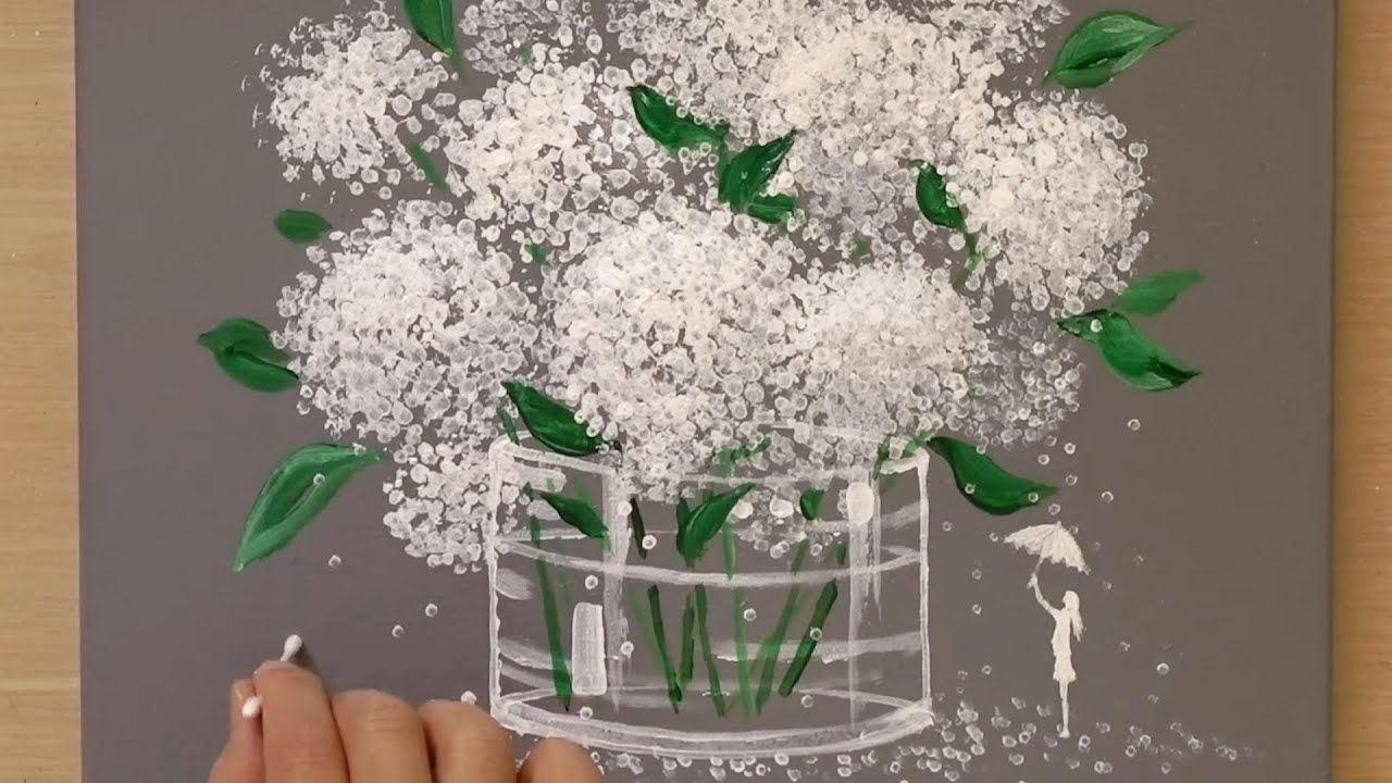 'White Hydrangea' Acrylic Painting Technique for Beginners