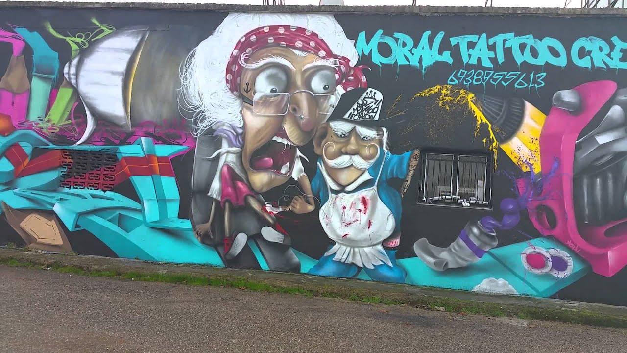 Graffiti wall tattoo - Moral Tattoo Crew Graffiti
