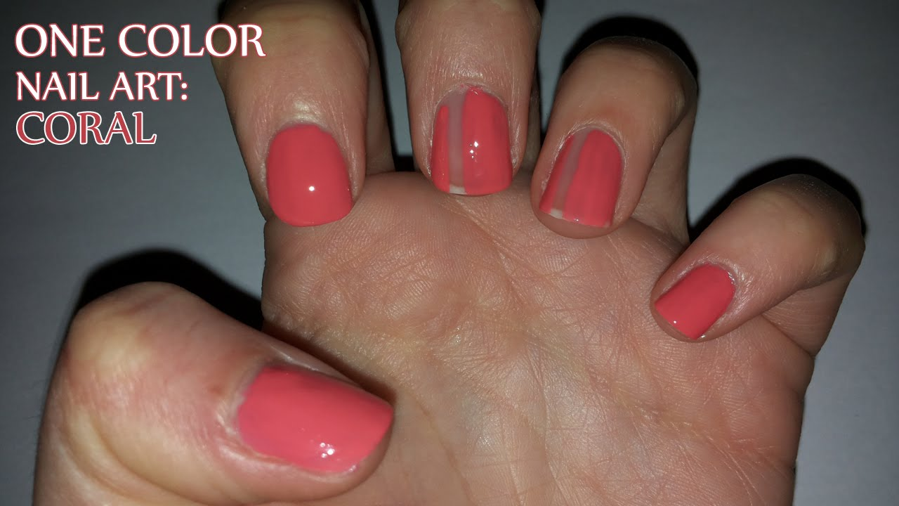 One color nail art coral youtube prinsesfo Gallery