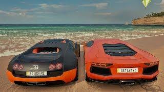 Forza Horizon 3 - Racha Na Praia - Bugatti Veyron VS Lamborghini Aventador Do Getaway Driver