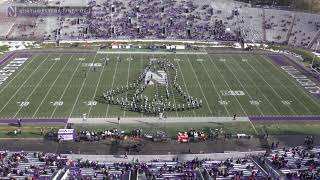 "The northwestern university ""wildcat"" marching band performs their halftime show during vs. of massachusetts, amherst footbal..."