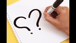 How to Draw Love Bird from 2 Question marks ! Amazing Drawing Transformation