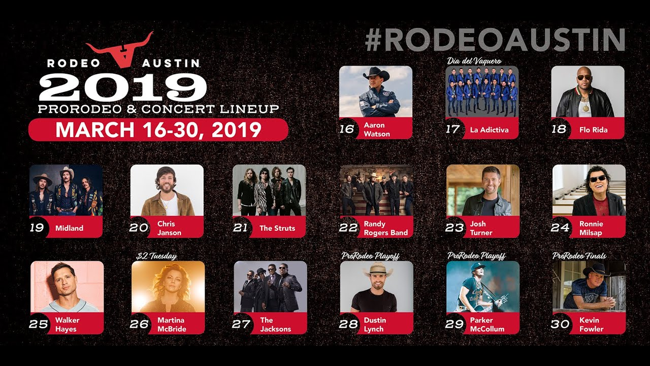 Rodeo Austin 2019 Prorodeo Amp Concert Lineup Youtube