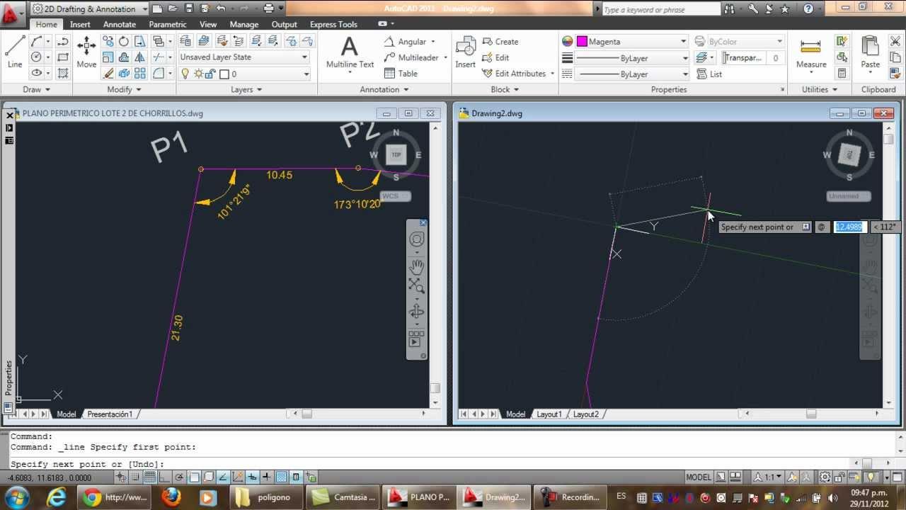 Dibuja lineas solo con longitudes y ngulos en autocad for Hacer planos en linea