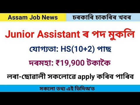 New govt job Recruitment | Junior Assistant posts | Assam Job News