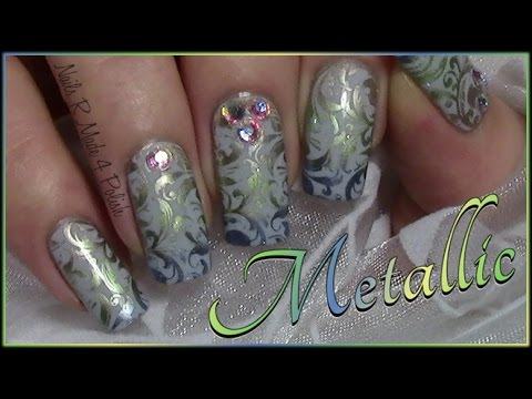 metallic schn rkel stamping nageldesign herbst n gel fall nail art design youtube. Black Bedroom Furniture Sets. Home Design Ideas