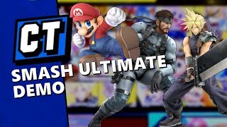 Super Smash Bros. Ultimate Demo Gameplay - Snake vs Mario and Cloud Ditto thumbnail