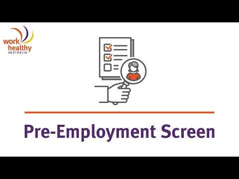 Pre Employment Screens with Work Healthy Australia