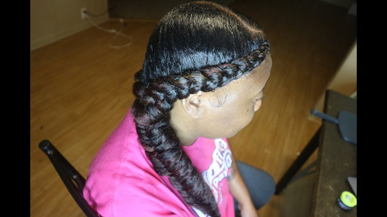2 Feed In Braids Into 1 Side Fishtail Youtube