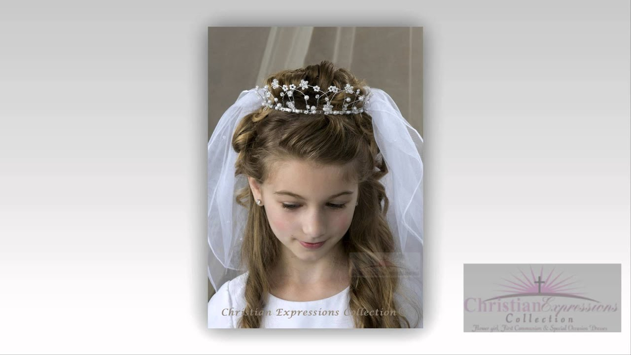first communion veils-first communion dresses-headpieces - youtube