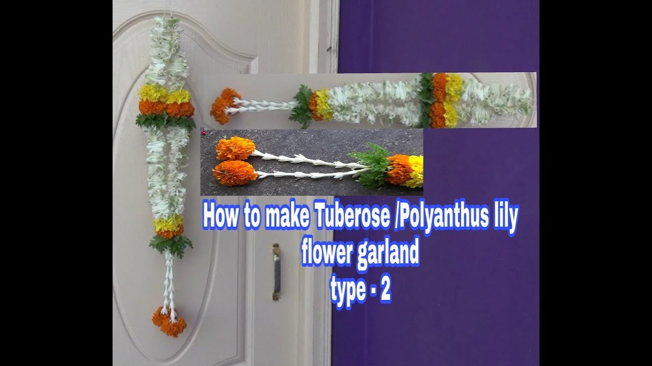 Mehndi Flower Garlands : How to make tuberose polyanthes lily flower garland sugandha raja