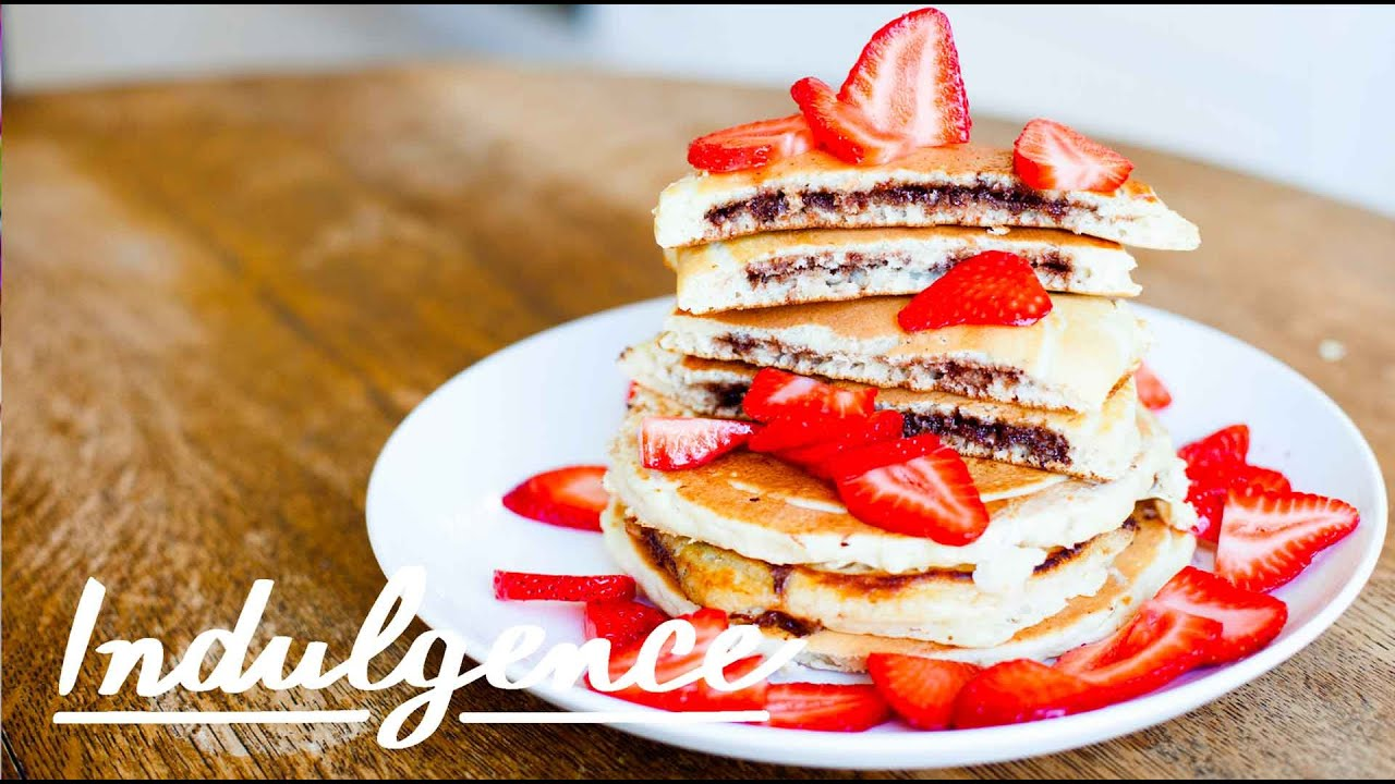 Nutella-Filled Strawberry Pancakes - YouTube