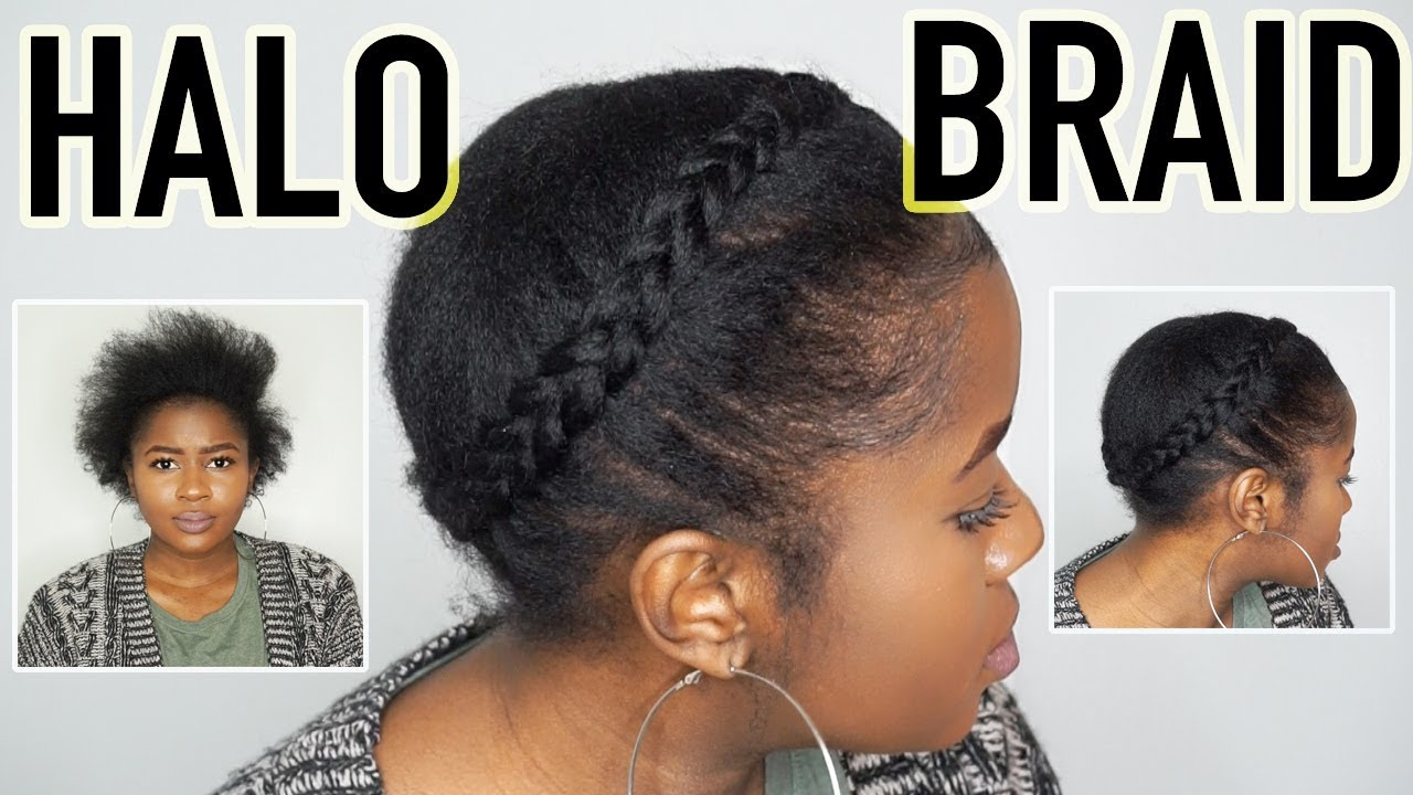 How To Do A Realistic Halo Braid On Short 4c Natural Hair Mona B Youtube