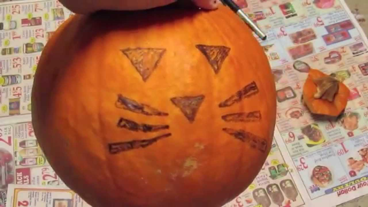 Diy cat pumpkin carving allie young youtube