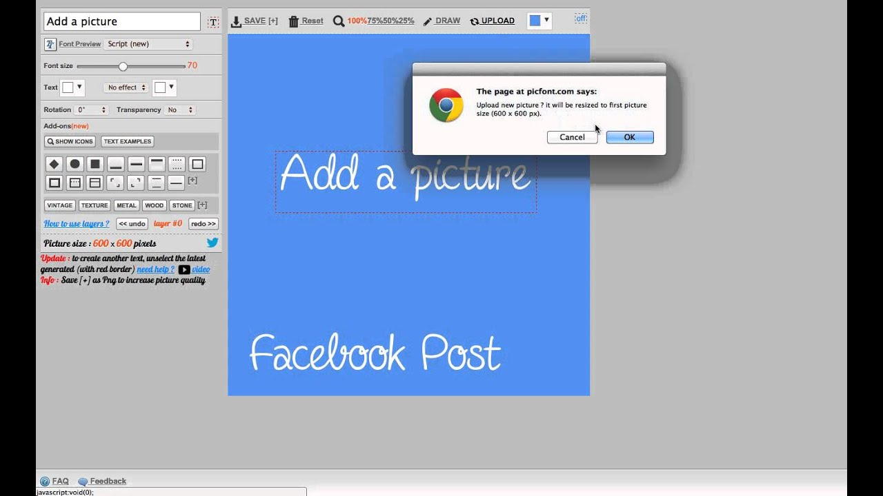 Facebook post : text and photo