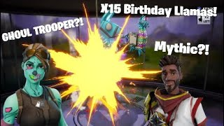Getting Ghoul Trooper in 2018?!?! Birthday Llama opening Fortnite Save The World