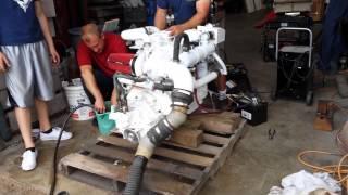 Cummins 4bt turbo marine diesel running for the first time