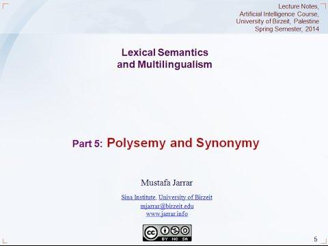 Jarrar: Lexical Semantics and Multilingualism (Part 5/5)