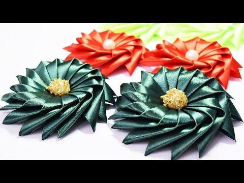 ЦВЕТЫ из атласных лент. Канзаши / Ribbon Flower Tutorial / ✿ NataliDoma