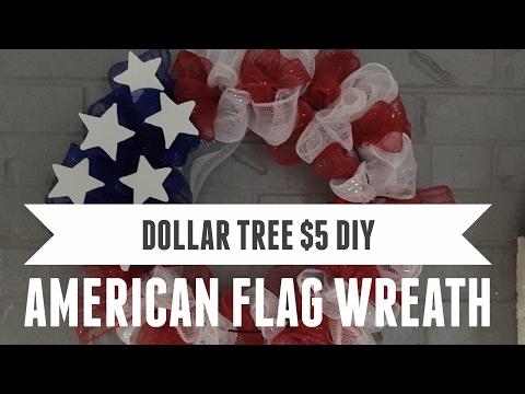 Dollar Tree DIY $5 American Flag Wreath First In Series 2017