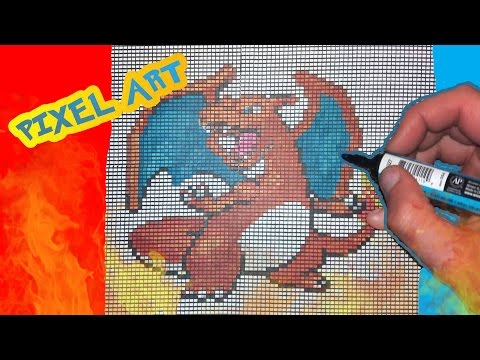Tuto Pixel Art Pokemon Dracaufeu Charizard Handmade