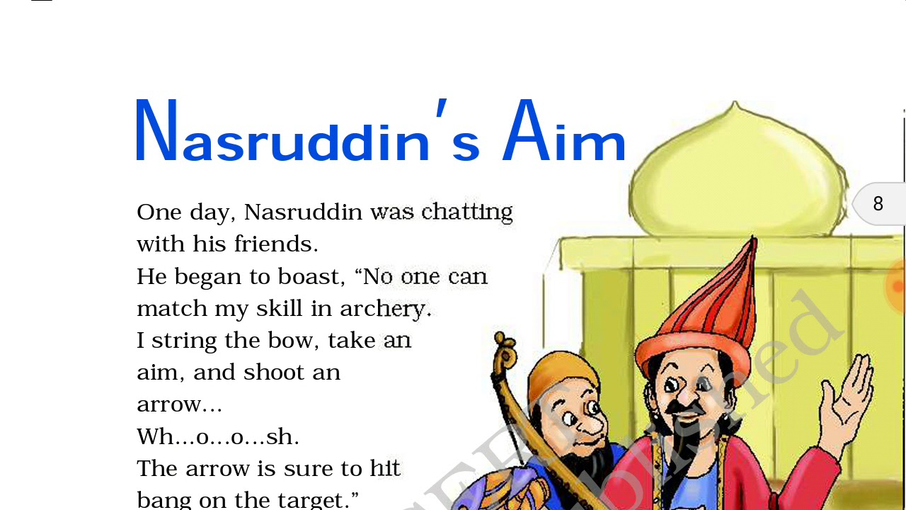 Download NASRUDDIN'S AIM NCERT CLASS 4TH ENGLISH FULL EXPLAINATION हिंदी में